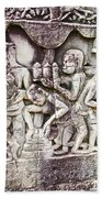 Bas-reliefs Of Khmer Daily Activities In The Bayon In Angkor Thom-cambodia  Beach Towel