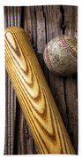 Baseball Bat And Ball Beach Towel
