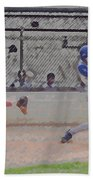 Baseball Batter Contact Digital Art Beach Towel