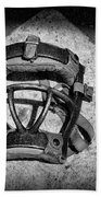 Baseball Catchers Mask Vintage In Black And White Beach Towel