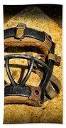 Baseball Catchers Mask Vintage  Beach Towel by Paul Ward