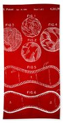 Baseball Construction Patent - Red Beach Towel by Nikki Marie Smith