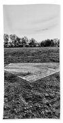 Baseball - Home Plate - Black And White Beach Towel by Paul Ward