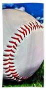 Baseball In The Grass Beach Towel