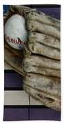 Baseball Mitt On American Flag Folk Art Beach Towel