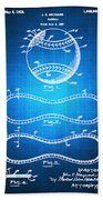 Baseball Patent Blueprint Drawing Beach Towel