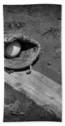 Baseball Pitchers Mound In Black And White Beach Towel by Paul Ward