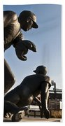 Baseball Statue At Citizens Bank Park Beach Towel by Bill Cannon