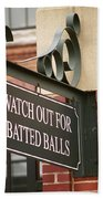 Baseball Warning Beach Towel by Frank Romeo