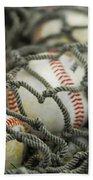 Baseballs And Net Beach Towel