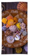 Basket Full Of Seashells Beach Towel