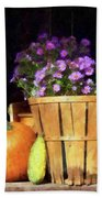 Basket Of Asters With Pumpkin And Gourd Beach Towel