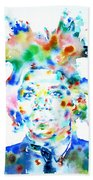 Basquiat Jean Michel Watercolor Portrait Beach Towel