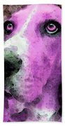 Basset Hound - Pop Art Pink Beach Towel