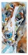 Basset Hound - Watercolor Portrait.1 Beach Towel