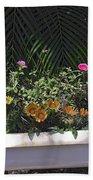 Bath Tub Flowers Beach Towel