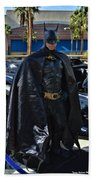 Batmobile And Batman Beach Towel by Tommy Anderson