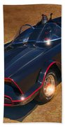 Batmobile Beach Towel by Tommy Anderson