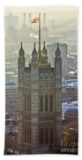 Battersea Power Station And Victoria Tower London Beach Towel