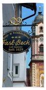 Bavarian Bakery Sign  Beach Towel