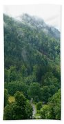 Bavarian Mountain Slope With Mist Beach Towel