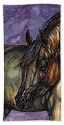 Bay Horse On The Purple Background Beach Towel