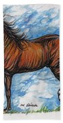 Bay Horse Running Beach Towel