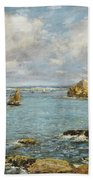 Bay Of Douarnenez Beach Towel by Eugene Louis Boudin