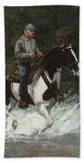 Big Creek Man On Spotted Horse Beach Towel