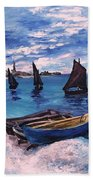 Beach At Sainte Adresse Monet Beach Towel