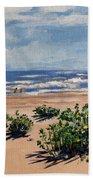 Beach Scene On Galveston Island Beach Towel