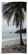 Beach With Palm Tree Beach Towel