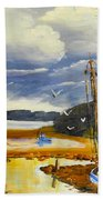 Beached Boat And Fishing Boat At Gippsland Lake Beach Towel