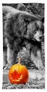 Bear And Pumpkins Too Beach Towel