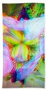 Bearded Iris Cultivar - Use Red-cyan 3d Glasses Beach Towel