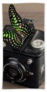 Beautiful Butterfly On A Kodak Brownie Camera Beach Sheet