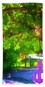 Beautiful Colored Glass Ball Hanging On Tree 1 Beach Towel