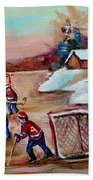 Beautiful Day-pond Hockey-hockey Game-canadian Landscape-winter Scenes-carole Spandau Beach Towel