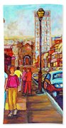Beautiful  Downtown City Stroll  Cafe Paintings Montreal Restaurants On Crescent Street C Spandau Beach Towel