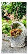 Beautiful Flowers In Basket Beach Towel