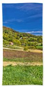 Beautiful Green Hill With Vineyard Cottages Beach Towel
