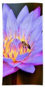 Beautiful Lily And Visiting Bee Beach Towel