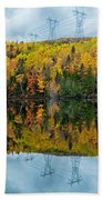 Beautiful Reflections Of A Autumn Forest In A Lake Beach Towel