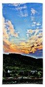 Beautiful Sky Over The Harbour Digital Painting Beach Towel