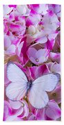Beautiful White Butterfly Beach Towel