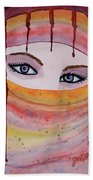 Beautiful Woman With Niqab Watercolor Painting Beach Towel