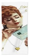 Beautiful Young Woman Holding Love Letter Vintage Vector Beach Towel