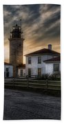 Beavertail Lighthouse Sunset Beach Towel by Joan Carroll