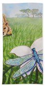 Beckoning The Little Predator To Come Closer Beach Towel