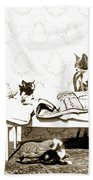 Bed Time For Kitty Cats Histrica Photo Circa 1900 Beach Towel